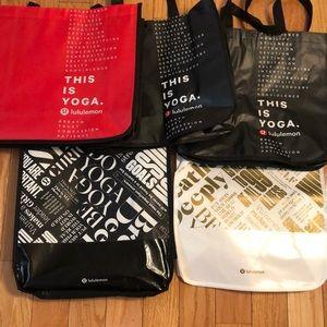 (5) Large Lululemon tote bags